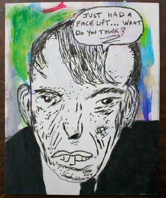 """ Face Lift"" Chuck Greatrex 5 1/2"" X 7"" Original Painting Outsider Nice!"