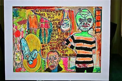 """THE HAVES ""  18"" x 24""  BY CHUCK GREATREX ORIGINAL PAINTING !!! OUTSIDER!!!"