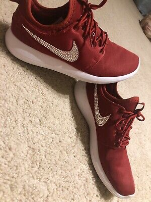 w// Bedazzled Swoosh Maroon Bling Nike Roshe Two Shoes w// Swarovski Crystals