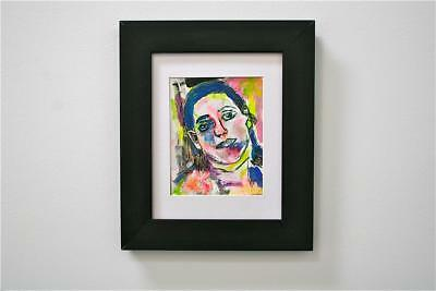 """ BARB "" CHUCK GREATREX 5"" x 7"" ORIGINAL FRAMED PAINTING OUTSIDER NICE!"