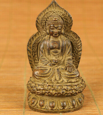 chinese old bronze hand carved Buddha statue figure table home decoration gift