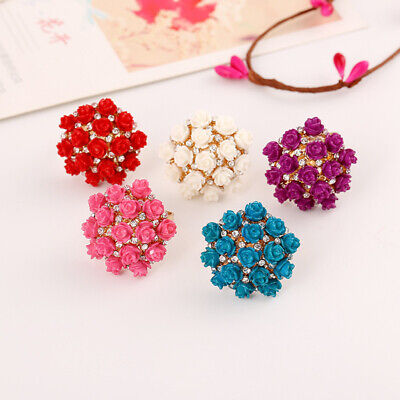 Fashion Ladies Flower Crystal Ring Engagement Rings for Women Jewelry Gift