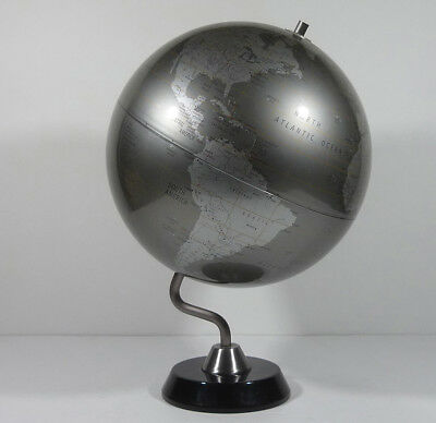 Replogle Diamond Marquise Series 12-inch desk globe metallic silver chrome