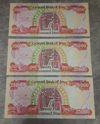 3 x 25,000 IRAQI DINAR BANKNOTE (IQD) UNCIRCULATED AUTHENTIC OFFICIAL IRAQ