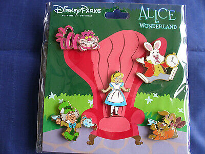 Disney * ALICE IN WONDERLAND * New in Package 5 Pin BOOSTER Set