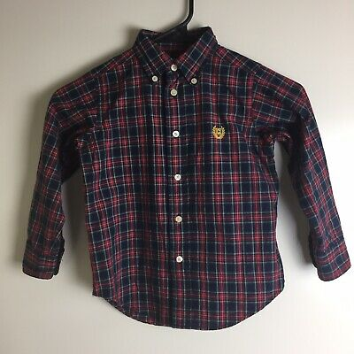 CHAPS Toddler Boys  Size 4T Plaid Button Down Long Sleeve Shirt Cotton