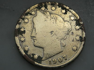 1907 Liberty Head V Nickel- Gold Plated, Ex-Jewelry?