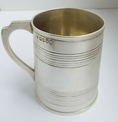 Lovely English Antique Victorian 1871 Solid Sterling Silver Christening Mug