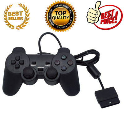 Black Wired Controller Dual Shock Joypad Gamepad for PS2 PlayStation 2 -ORIGINAL