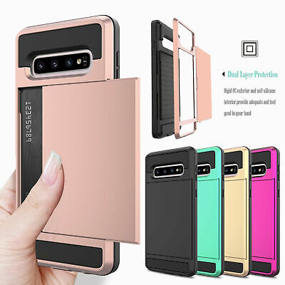 For Samsung Galaxy S10 Plus Lite S9S8S7 Wallet Slide Card Slot Holder Case Cover