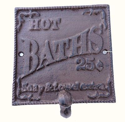Hot Baths 25 cents Soap & Towel Extra Metal Cast Iron Sign New 5 1/4x5 1/4inches