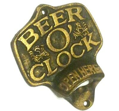 Beer O'Clock Bottle Opener Metal Cast Iron New 5 1/2x4 inches