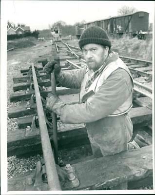 Man fixing the Railway at North Elmham. - Vintage photo