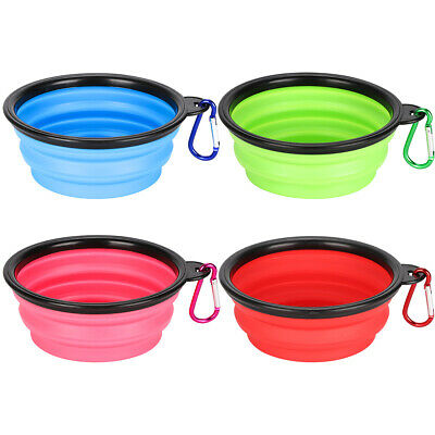 Silicone Cat Dog Pet Feeding Bowl Water Dish Feed Travel Portable Collapsible RU