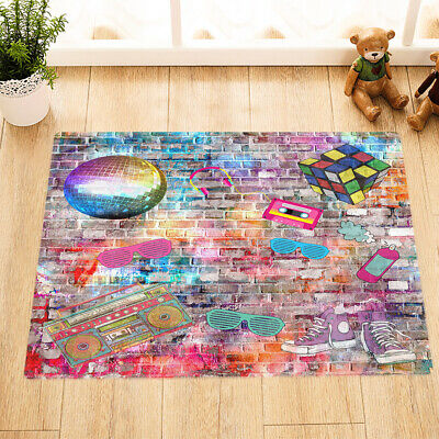 "24x16"" Non-Slip Bath Mat Rug Colored Brick Wall Graffiti Bedroom Rug Door Carpet"