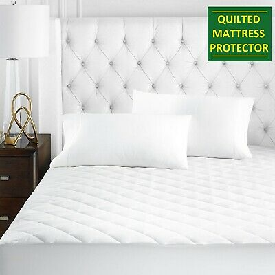 """Luxury Quilted Mattress Protector 12"""" Fitted Bed Cover Small Double Super King"""