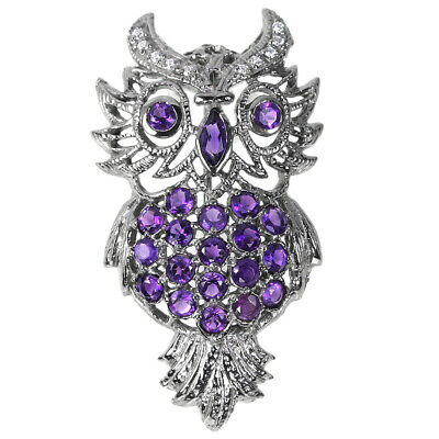 Natural Aaa Purple Amethyst & White Cz Sterling 925 Silver Owl Brooch