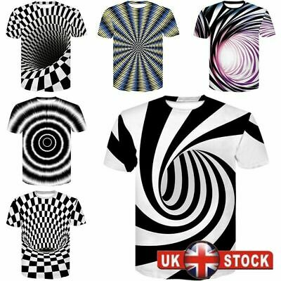 Fashion 3D Hypnosis Swirl Print Mens Womens Casual T-Shirt Short Sleeve Tee Tops