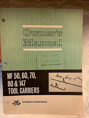 MF 50 60 70 80 147 Tool Carrier Owners Manual Massey Ferguson Tractor