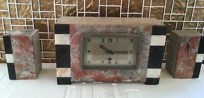 Art Deco 8 Day Clock Pink Marble Running  with Garnitures (French?)