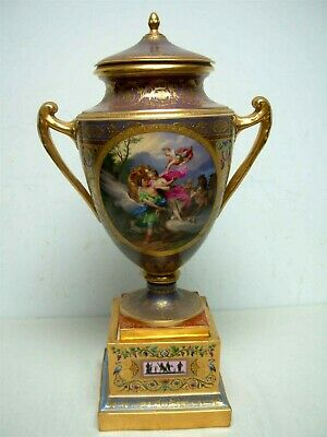 "Antique Royal Vienna Porcelain Ornately Hand Painted Urn & Plinth Signed ""Meyer"""