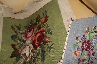 2 X Antique/vintage Tapestry/needlepoint Cushion Cover +Floral Hand Stitched Vgc