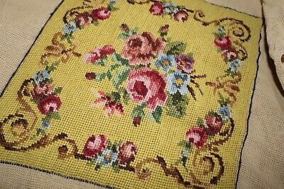 Antique/vintage Tapestry/needlepoint Cushion Cover Floral Yellow Hand Stitched