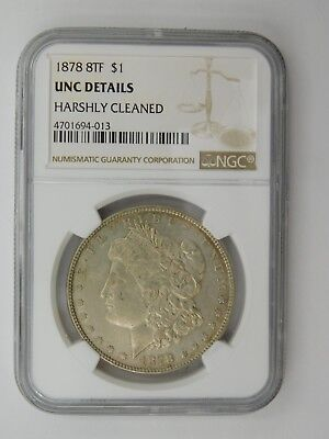 1878 8TF Morgan Silver Dollar NGC Graded UNC Details Harshly Cleaned (415)