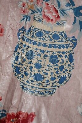Osborne & Little Fabric Peony Pots Curtain Panel Chintz Cotton Chinese Porcelain