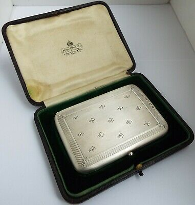 Lovely Boxed Antique 1911 Mappin & Webb Sterling Silver Calling Card Stamp Case