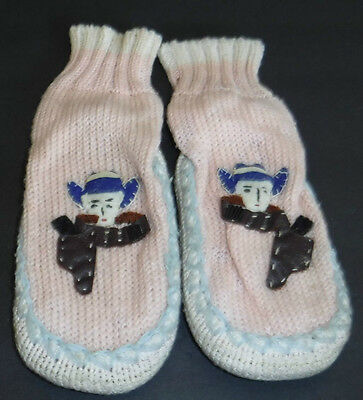 Vintage Childs Knit Slipper Socks Pink Cowboy Applique Leather Sole Size 5 Japan
