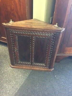 Small Antique Victorian Oak Corner Cabinet with Carved Detail