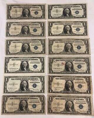 Lot of 13 1957 & 1935 $1 One Dollar Blue Seal US Silver Currency bill