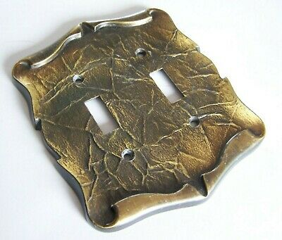 Vintage Brass Amerock Carriage House Double Switch Plate Cover