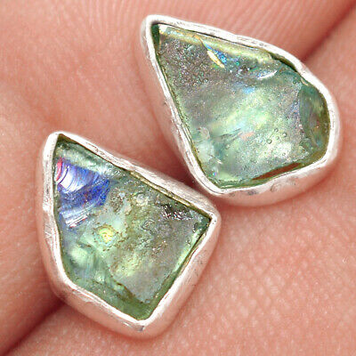 Ancient Roman Glass 925 Sterling Silver Earrings Stud Jewelry AE49464