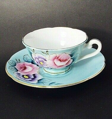 Hand Painted Pink,Lav Roses on Blue/Green Demitasse Footed Teacup,Saucer Set VGC