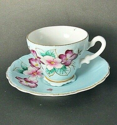 Hand Painted Red,Pink Floral,Blue/Green Demitasse Footed Teacup,Saucer Set VGC