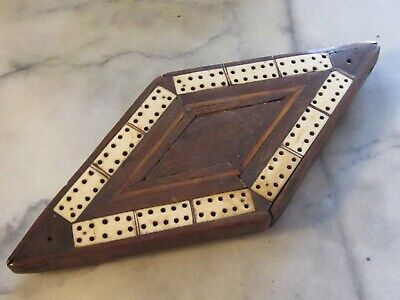 Rare Diamond Shape Hardwood/bone Cribbage Board. Europe. 1920's.