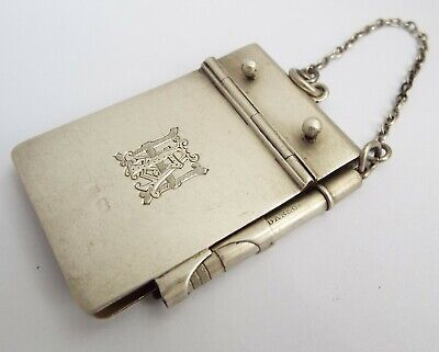 Lovely Rare English Antique 1901 Solid Sterling Silver Chatelaine Note Book
