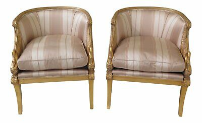 L47289EC: Pair KARGES Gold Gilt Swan Carved Parlor Chairs