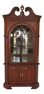 47247EC: CRAFTIQUE Chippendale Carved Mahogany Corner China Cabinet