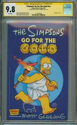 Simpsons Go For Gold 1 Cgc 9.8 Signature Series Signed Matt Groening Bart Sketch