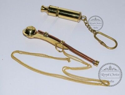 Nautical Maritime Brass/Copper Boatswain Whistle / Solid Brass Whistle Key Chain
