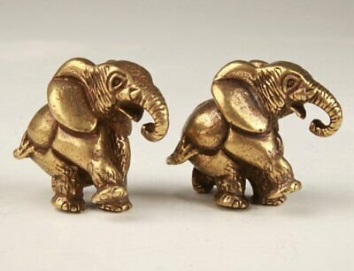 2 Unique Chinese Bronze Statue Solid Animal Elephant Handicraft Collection Gift