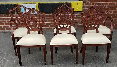6 Mahogany Maitland Smith Hepplewhite Shield Back Dining Room Chairs 4031-184