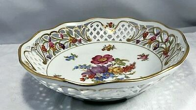 Schumann Bavaria Dresden Flowers Reticulated Bowl Arzburg Golden Crown N/R