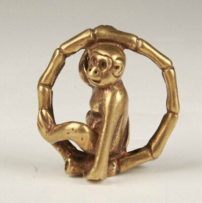Chinese Hand Carved Geomantic Water Pure Brass Animal Lovely Monkey Small Statue