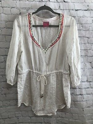 c37417f892d Free People White Silver Semi Sheer Embroidered Drawstring Tunic Blouse Top-  L