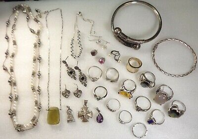 Vintage STERLING SILVER Gemstone Rings Cuff Bracelet Drop Earrings Jewelry Lot