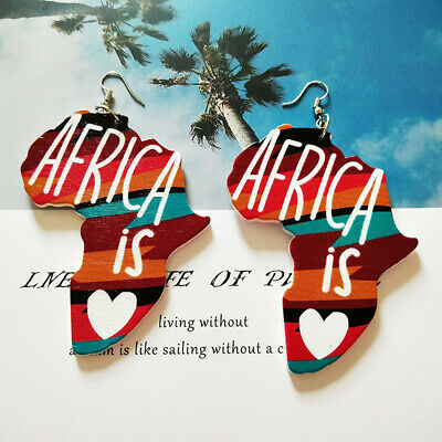 Ethnic Girls African Animals Painted Wooden Pendant Earrings Gifts Jewelry